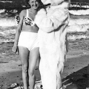 woman and polarbear